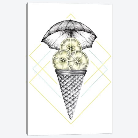 Lemon Ice Cream 3-Piece Canvas #BRL31} by Barlena Canvas Wall Art