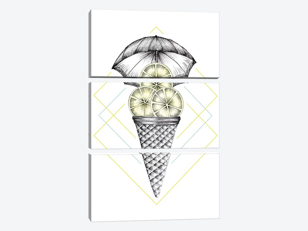 Lemon Ice Cream 3-piece Canvas Wall Art