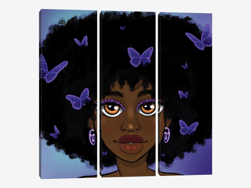 Butterfly Girl Purple by Bri Pippens 3-piece Art Print