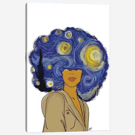 Afro Starry Nights Canvas Print #BRP32} by Bri Pippens Canvas Art