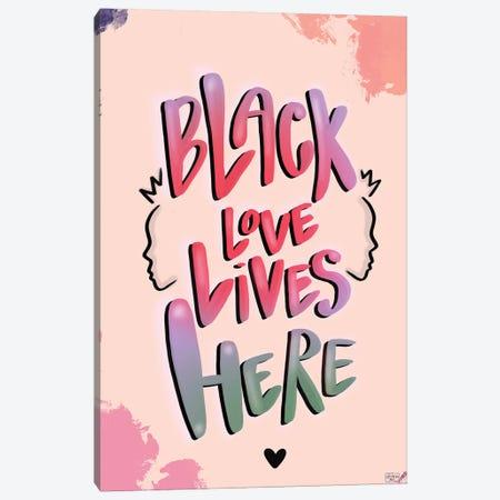 Black Love Lives Here Canvas Print #BRP58} by Bri Pippens Canvas Art