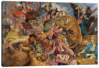 Cat Fight  Canvas Art Print