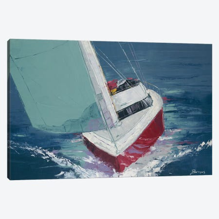 Day Sailing Canvas Print #BRW16} by John Burrows Canvas Wall Art