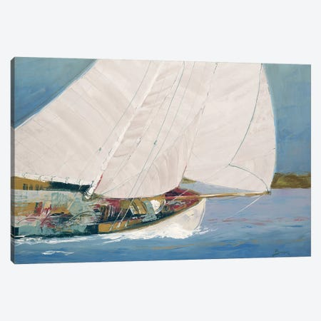 Lake Sailing Canvas Print #BRW21} by John Burrows Canvas Art
