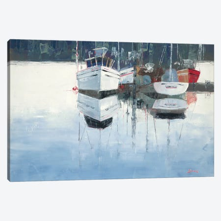 Dock Tight Canvas Print #BRW3} by John Burrows Canvas Artwork