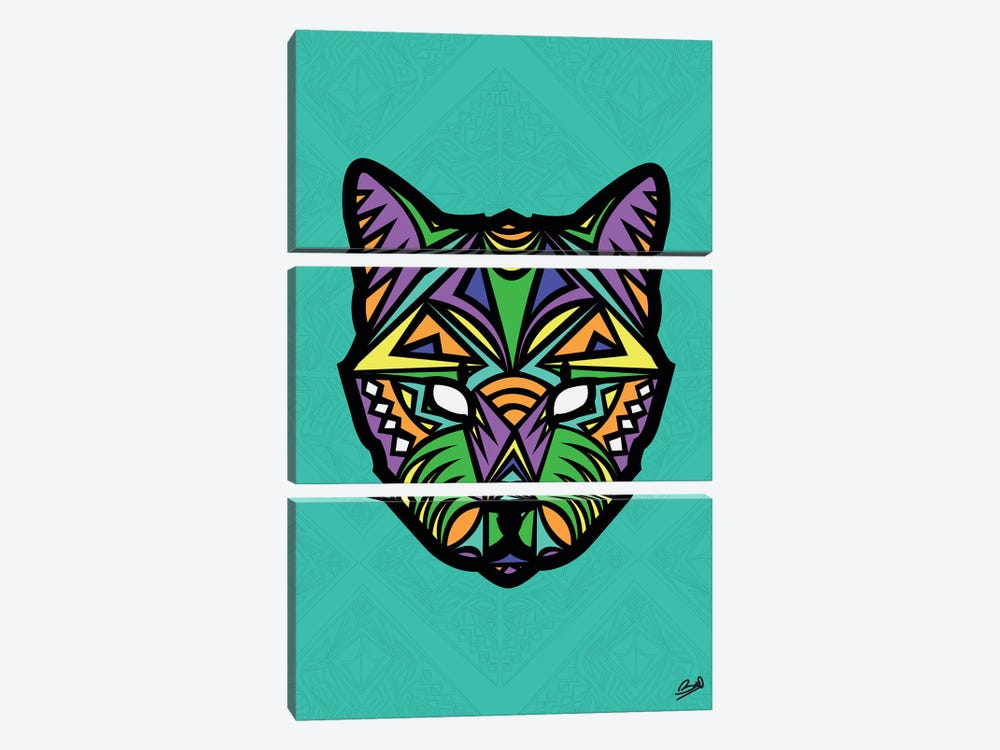 Chat Sauvage by Baro Sarre 3-piece Canvas Art Print