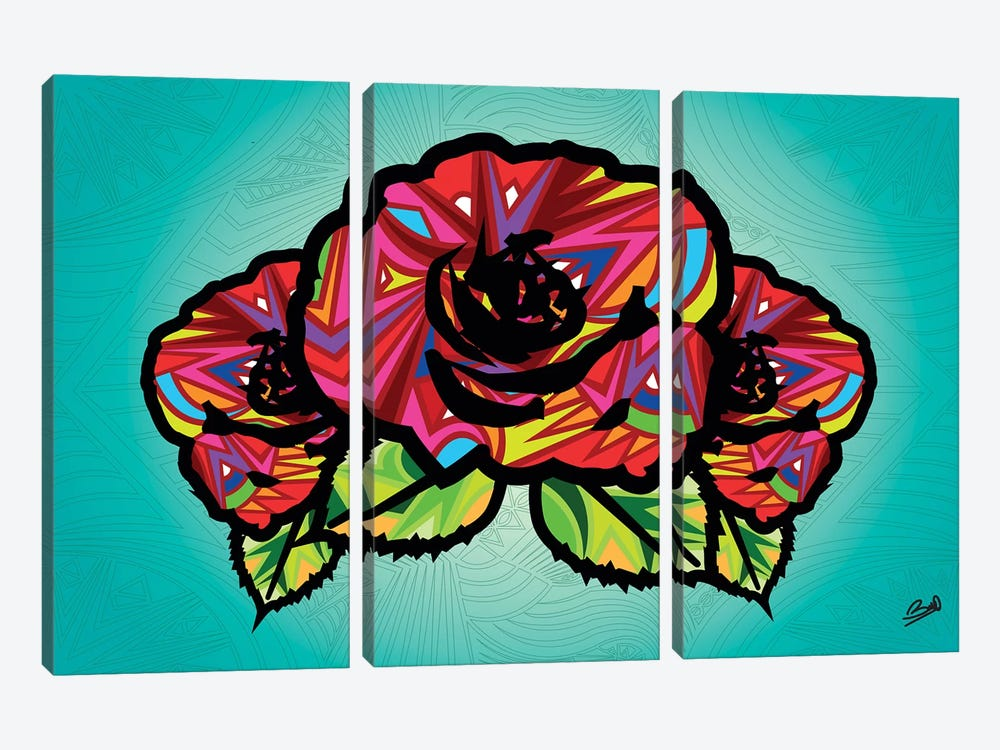 Flowers by Baro Sarre 3-piece Canvas Print