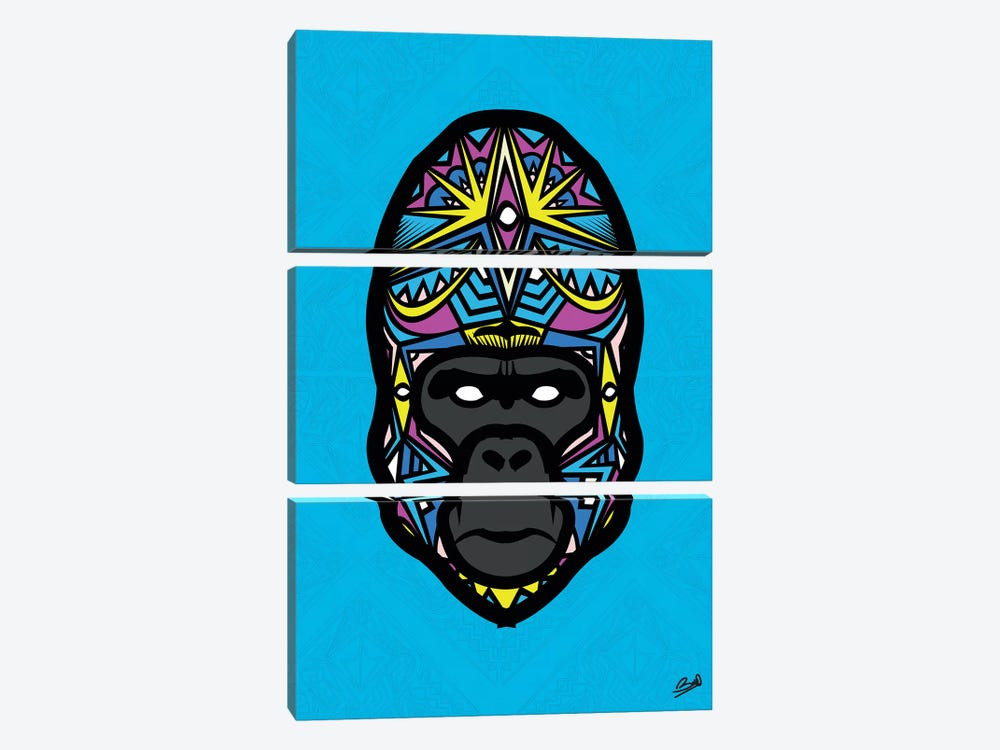 Gorille Sauvage by Baro Sarre 3-piece Canvas Wall Art