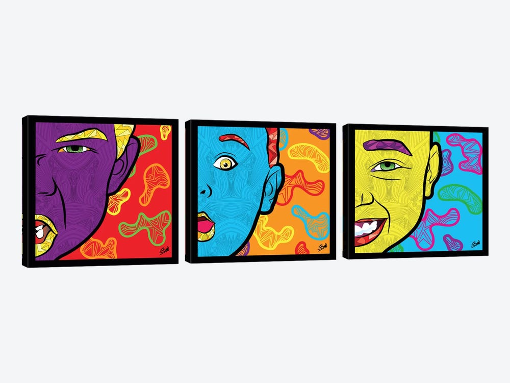 Pop Innocence Triptych by Baro Sarre 3-piece Canvas Artwork