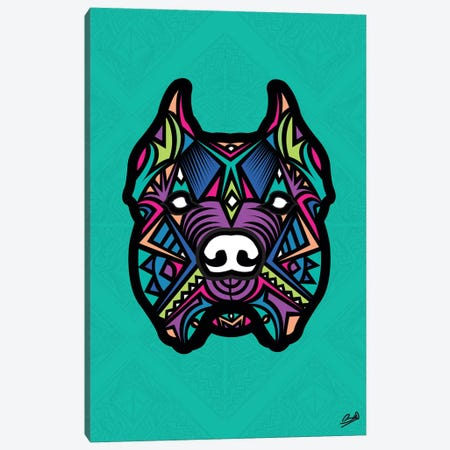 Pitbull Sauvage Canvas Print #BSA52} by Baro Sarre Canvas Artwork