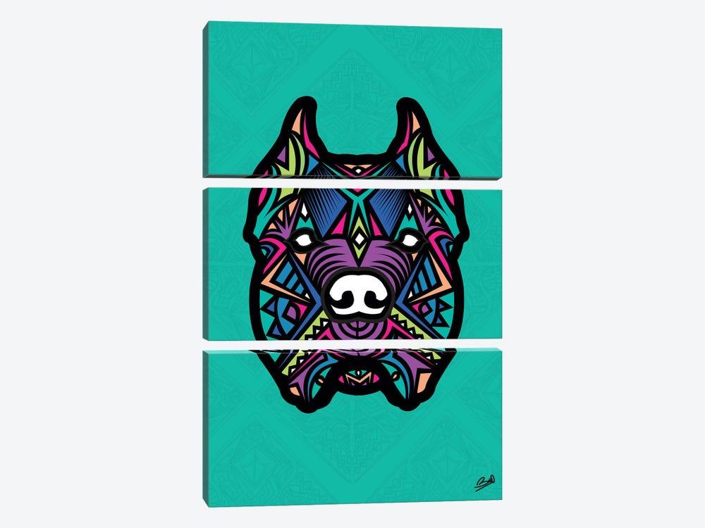 Pitbull Sauvage by Baro Sarre 3-piece Canvas Wall Art