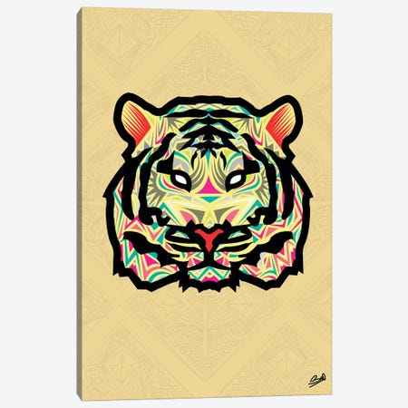 Tigre Sauvage 3-Piece Canvas #BSA75} by Baro Sarre Canvas Print