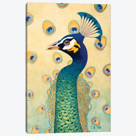 Green Peacock Canvas Print #BSH16} by Thomas Blackshear II Canvas Artwork