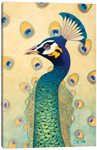 Green Peacock Canvas Art Print
