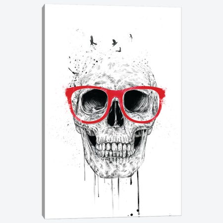 Skull With Red Glasses Canvas Print #BSI102} by Balazs Solti Canvas Print