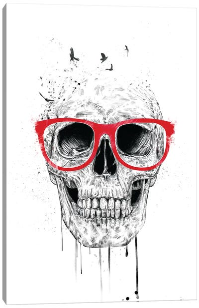 Skull With Red Glasses by Balazs Solti Canvas Print