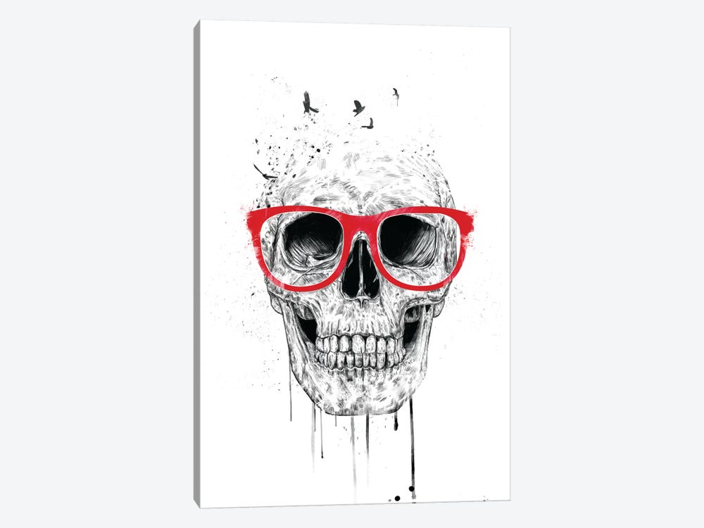 Skull With Red Glasses by Balazs Solti 1-piece Canvas Print