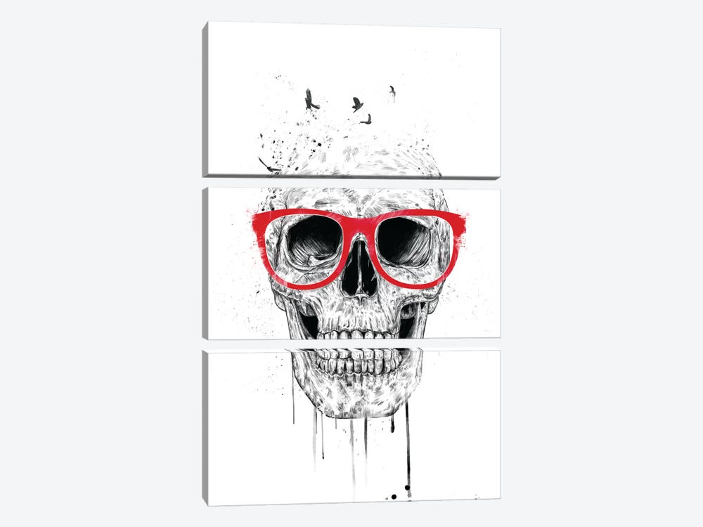 Skull With Red Glasses by Balazs Solti 3-piece Canvas Art Print