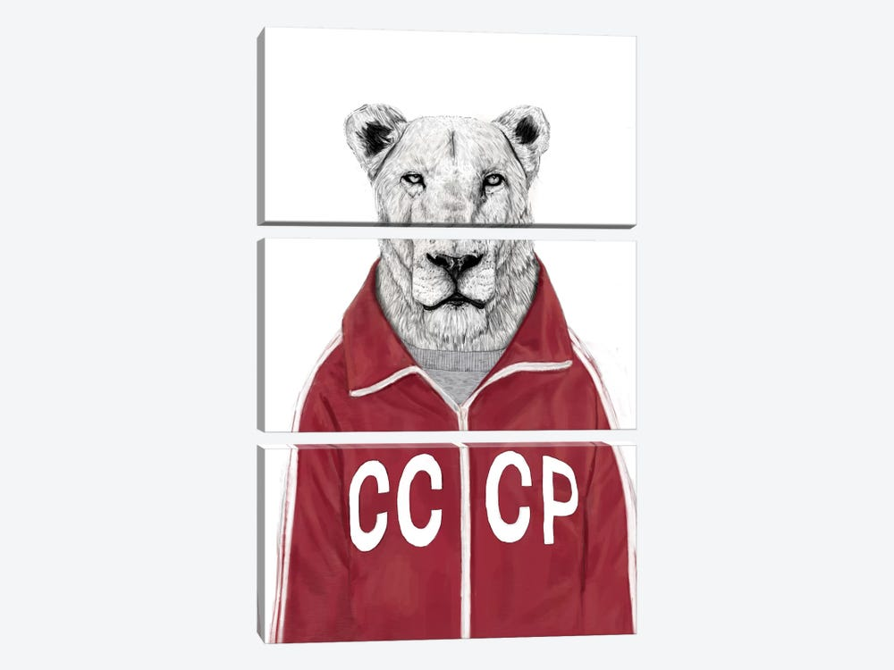 Soviet Lion by Balazs Solti 3-piece Canvas Print