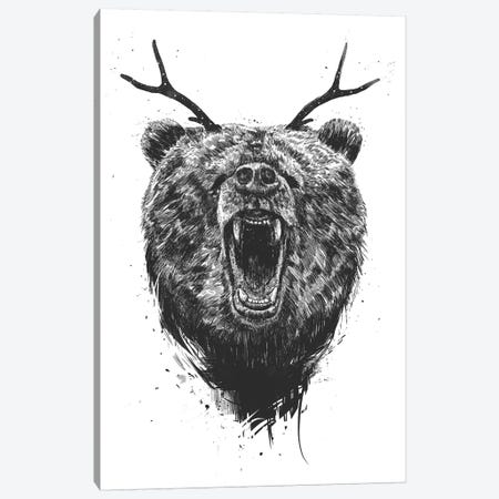 Angry Bear With Antlers Canvas Print #BSI112} by Balazs Solti Canvas Art