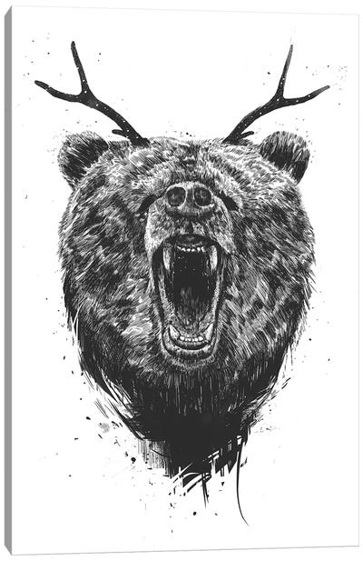 Angry Bear With Antlers Canvas Print #BSI112