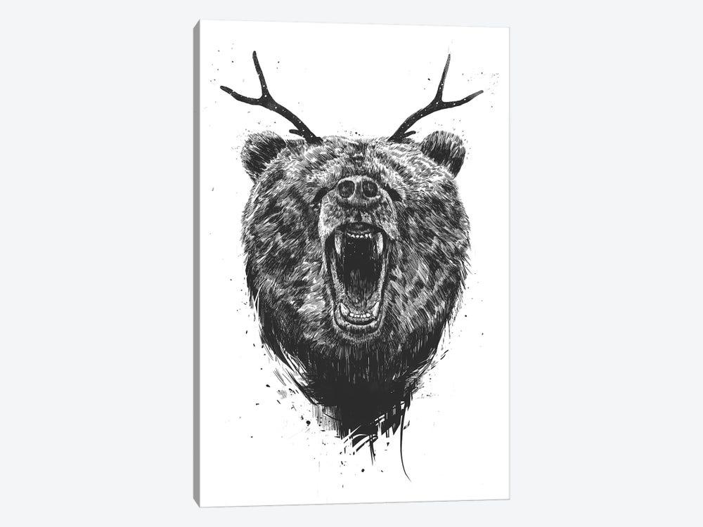 Angry Bear With Antlers by Balazs Solti 1-piece Canvas Art