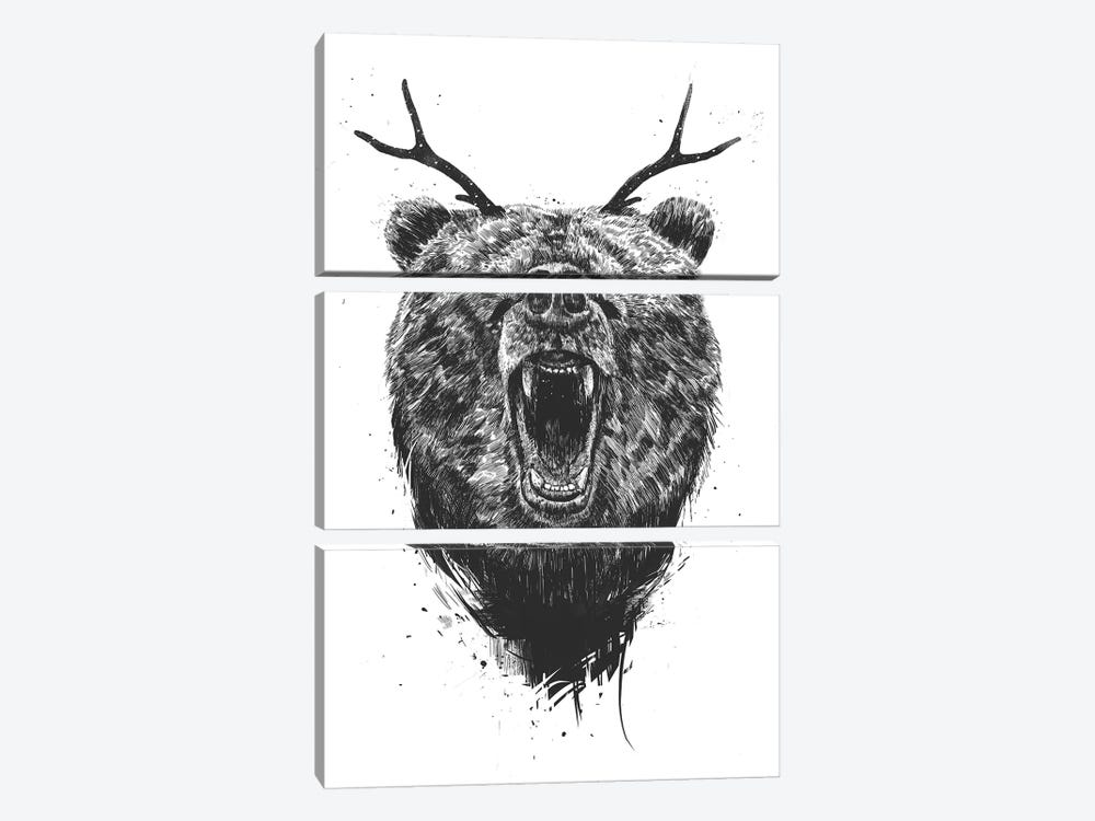 Angry Bear With Antlers by Balazs Solti 3-piece Canvas Wall Art