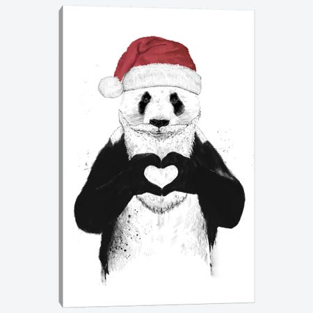 Santa Panda Canvas Print #BSI118} by Balazs Solti Canvas Art