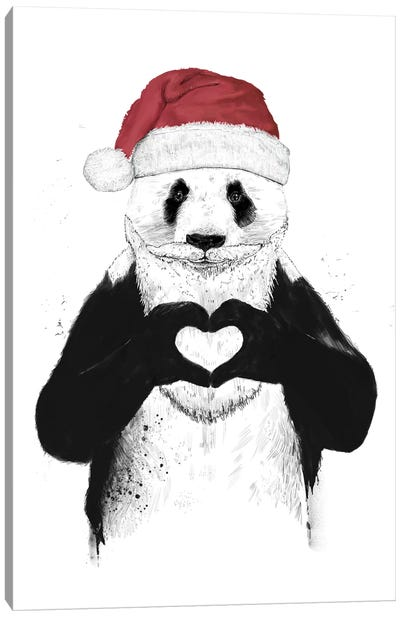 Santa Panda Canvas Art Print