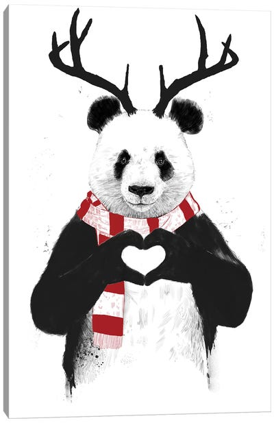 Xmas Panda Canvas Art Print