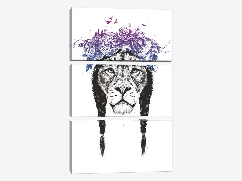 King Of The Jungle by Balazs Solti 3-piece Canvas Wall Art