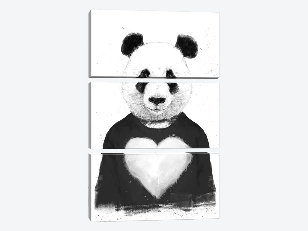 Lovely Panda by Balazs Solti 3-piece Canvas Art Print