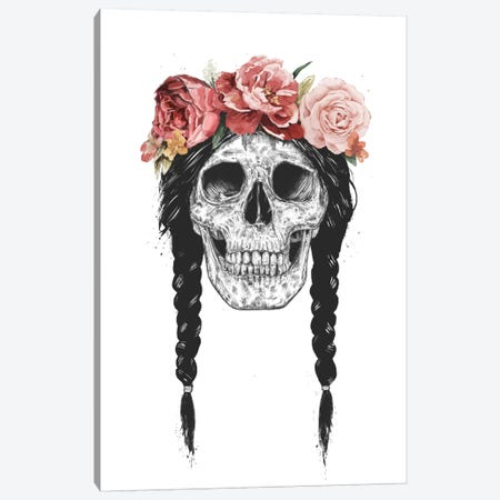 Skull With Floral Crown Canvas Print #BSI133} by Balazs Solti Canvas Artwork