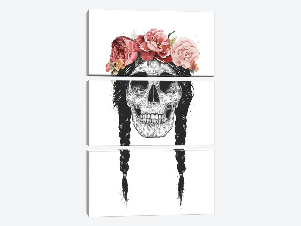 Skull With Floral Crown by Balazs Solti 3-piece Canvas Print