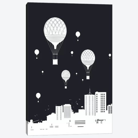 Balloons And The City Dark Canvas Print #BSI156} by Balazs Solti Canvas Art Print