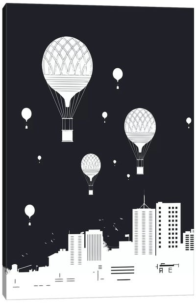 Balloons And The City Dark Canvas Art Print