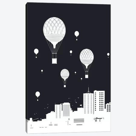 Balloons And The City Dark Canvas Print #BSI156} by Balazs Solti Canvas Art Print