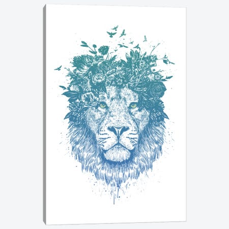 Floral Lion Canvas Print #BSI168} by Balazs Solti Canvas Art Print