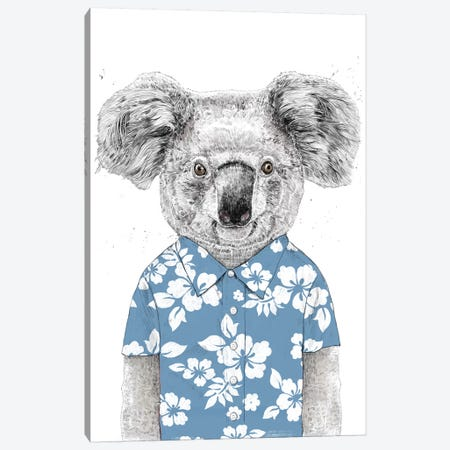 Summer Koala Blue Canvas Print #BSI184} by Balazs Solti Canvas Art
