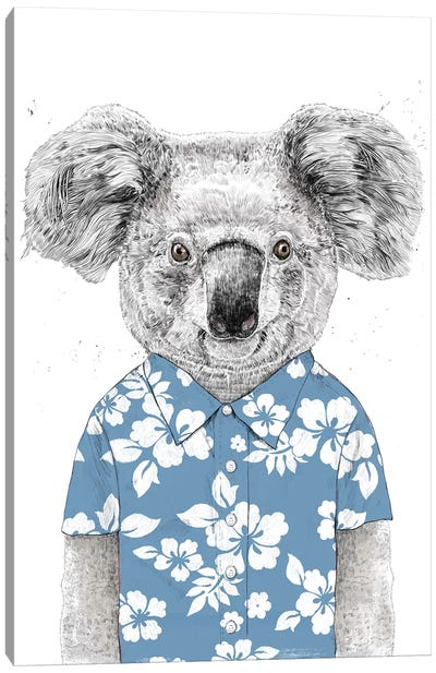Summer Koala Blue Canvas Art Print