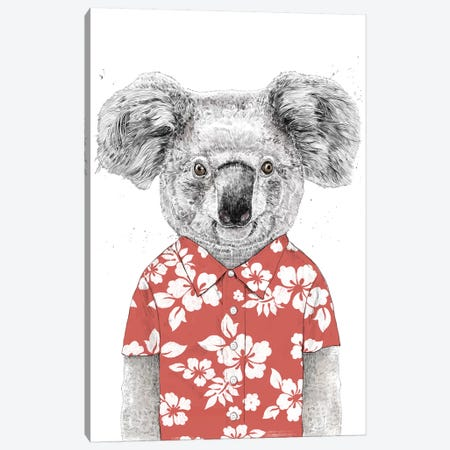 Summer Koala Red Canvas Print #BSI185} by Balazs Solti Canvas Wall Art