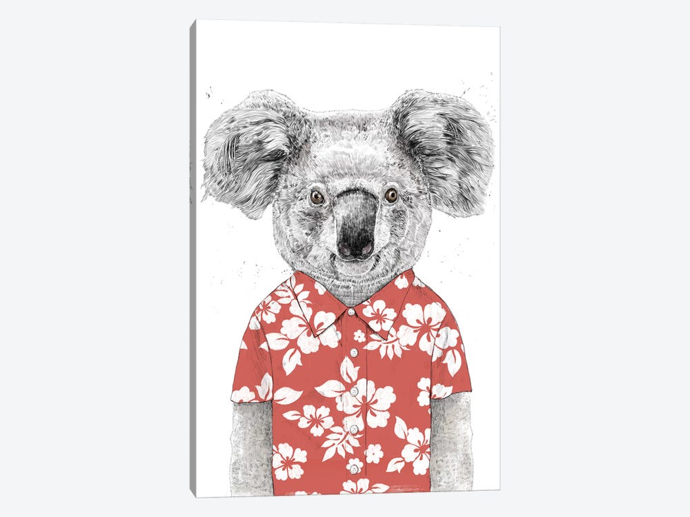 Summer Koala Red by Balazs Solti 1-piece Canvas Wall Art