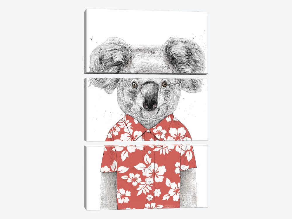 Summer Koala Red by Balazs Solti 3-piece Canvas Art