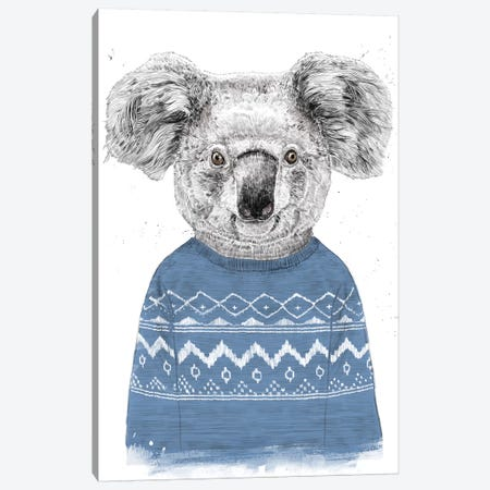 Winter Koala Blue Canvas Print #BSI190} by Balazs Solti Canvas Wall Art