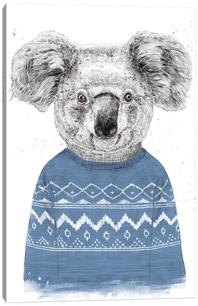 Winter Koala Blue Canvas Art Print