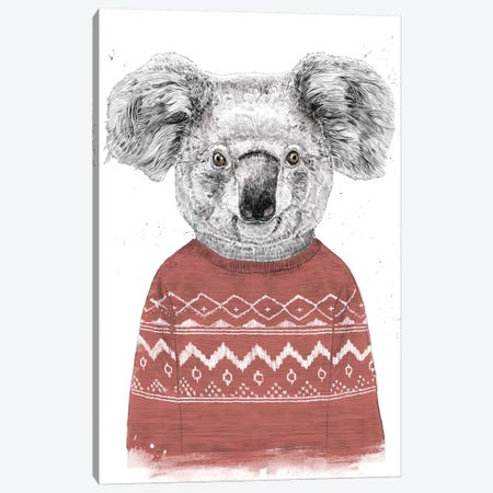 Winter Koala Red Canvas Print #BSI191} by Balazs Solti Canvas Wall Art