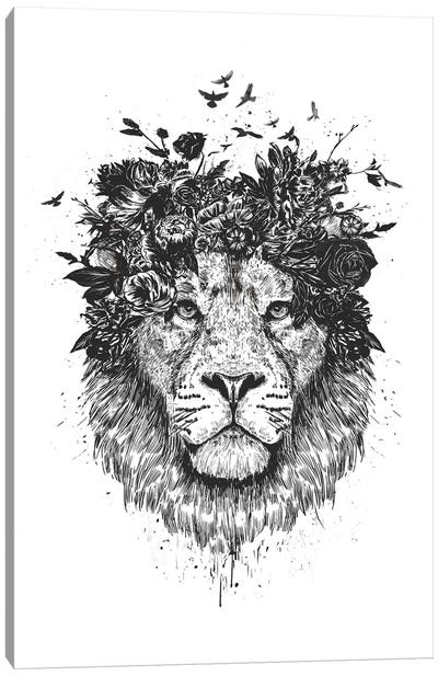 Floral Lion In Black And White Canvas Art Print