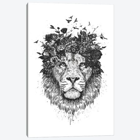 Floral Lion In Black And White Canvas Print #BSI198} by Balazs Solti Canvas Artwork
