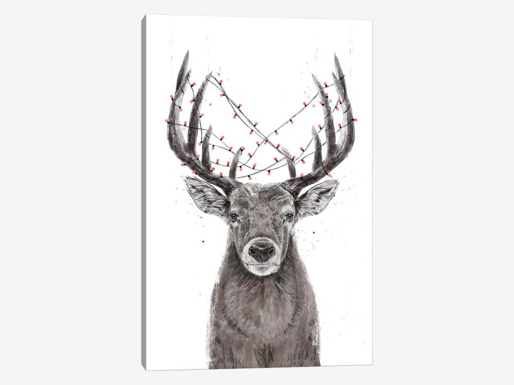 Xmas Deer by Balazs Solti 1-piece Canvas Wall Art
