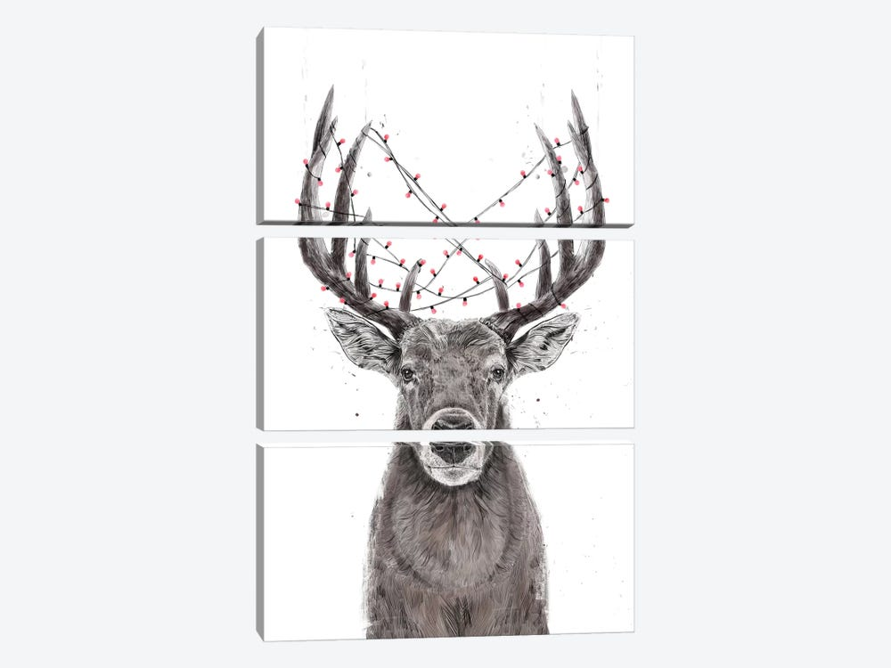 Xmas Deer by Balazs Solti 3-piece Canvas Wall Art